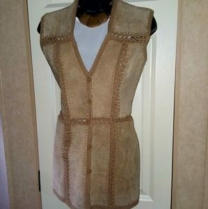 Vintage Genuine Leather Hand Stitched Vest.